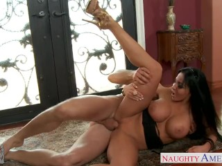 Chesty brunette girlfriend Audrey Bitoni fucking