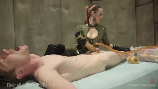 Latex Dominatrix Milks Slave Boy  strap on denial dominatrix control bdsm femdom fetish domination toys divinebitches kink edging rubber latex bondage anal