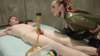 Latex Dominatrix Milks Slave Boy  strap on denial dominatrix bdsm femdom fetish domination toys divinebitches kink edging rubber latex bondage anal control