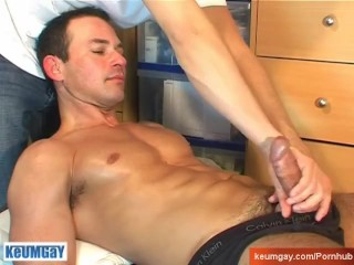 Huge cock around ! Marco get wanked his enormous thing by a guy !
