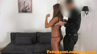 FakeAgent Tanned dancer fucked hard and then takes Creampie in Office  office sex homemade audition amateur blonde cumshot pov couch reality fakeagent hottie interview oral sex shaved pussy