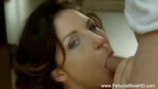 redhead gives amazing blowjob