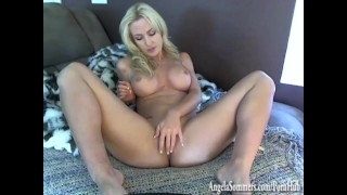 Babe gives blowjob tease dirty talking  bigtits angelasommers playboy pornstar busty blonde webcam striptease shaved pussy dirty talk babe masturbating blonde