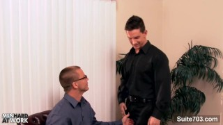 Lusty gay in glasses suck cock