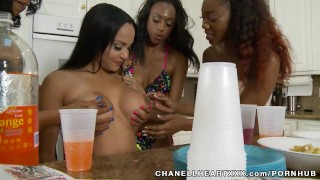 When The Boys Are Away....  big tits clit rubbing ebony black lesbian brunette tan line fingering shaved group pussy eating natural tits girl on girl chanellheartxxx