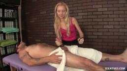 Tiny dominant girl handjob