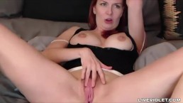 Stunning busty redhead Alice White rubs hole