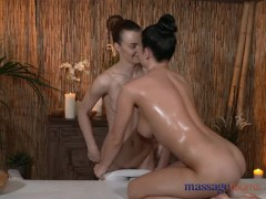 Massage Rooms Big boobs teen has pussy filled with lesbian fingers