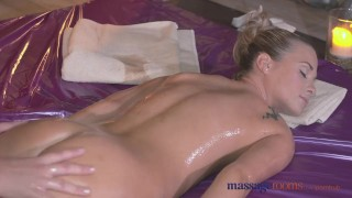 Massage Rooms Teen lesbian rides the oily fingers of her sexy blonde client porno