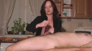 Femdom handjob with 3 cumshots cumshot edging ruined orgasm edge femdom multiple cumshots handjob brunette amateur mayashandjobs