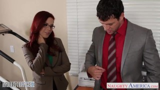 Preview 2 of Redhead cutie in glasses Penny Pax fuck in the office