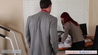 Redhead cutie in glasses Penny Pax fuck in the office Pov big