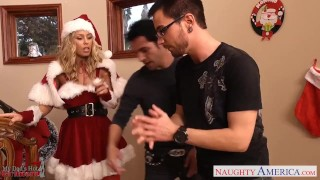 Nicole babe santa two aniston dicks take lovely tits stockings