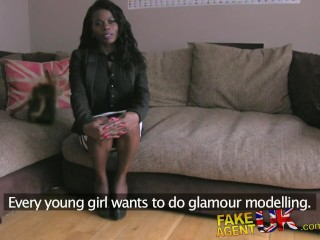 Fakeagentuk stunning ebony amateur deep throats big cock to the hilt