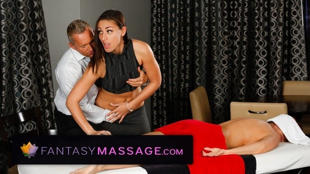Butch hairy muscle man Husband cheats with masseuse with wife in room