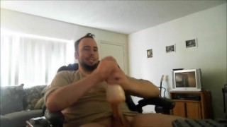 Big Throbbing Swollen Dick Vibrates on a Latex Clit