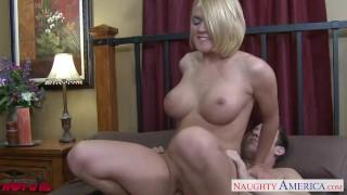 Busty blonde Krissy Lynn fucking Small pornstar
