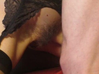 Cumming with cum: gf masturbates with jizz after bf cums on bush