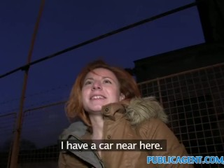 PublicAgent Ginger women fucks a stranger in his car for cash