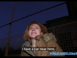 Rubbing Her Hot Pussy PublicAgent Ginger women fucks a stranger in his car for cash
