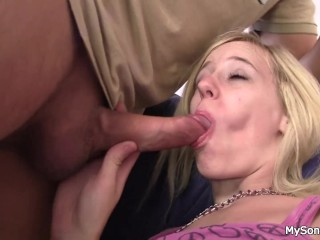 She swallows old man big cock