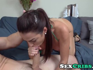 Julianna Vega shaking her round juicy ass on big monster cock