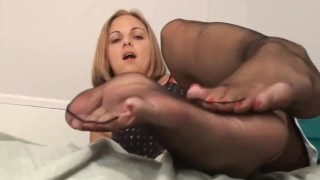 Footjob black sheer pantyhose tits soles
