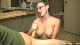 Topless cutie jerks off a monster-sized cock