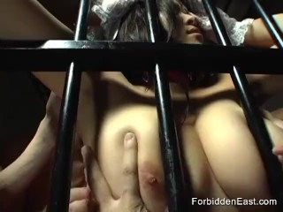 Preview 2 of Sexy Oriental maid rides a fuck machine with 4 guys