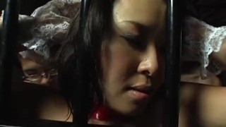 Preview 3 of Sexy Oriental maid rides a fuck machine with 4 guys