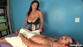 Busty Mature Cock Handjob big boobs femdom meanmassages