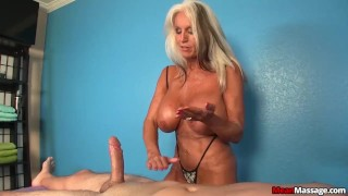 Experienced Lady Dominant Handjob  huge tits femdom mature handjob titty fucking meanmassage old teasing amateur cougar oil happy ending massage rub and tug