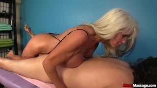 Experienced Lady Dominant Handjob  teasing femdom old amateur massage handjob mature cougar oil rub and tug meanmassage happy ending huge tits titty fucking
