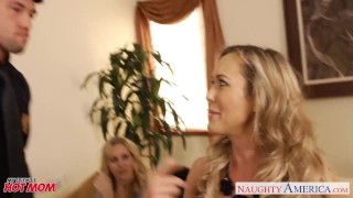 Busty moms Brandi Love, Eva Karera and Julia Ann suck cock porno