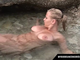 Malina May hot blonde strip and masturbates on the beach
