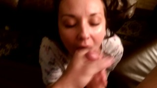 huge load cumshot homemade cock-sucking pov brunette blowjob amateur oral babe massive-cumshot point-of-view facial
