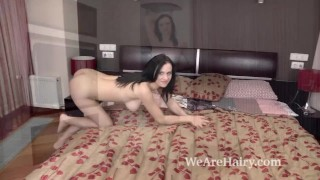 Kaira enjoys masturbating after her sexy stripping