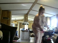 Horny naked wife cleaning house butt naked with door wide open
