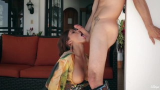 Cock on milf sunny devours tanned sunday big high