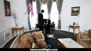 InnocentHigh - Sneaky Student Fucked In The Oval Office Cowgirl missionary