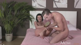 MOM Horny Milf sucks and fucks hard cock of shy young guy Mom kendra