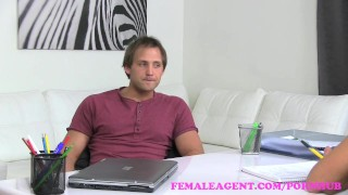 FemaleAgent. Horny blonde MILF finishes casting with a mouthful of cum Babe groping