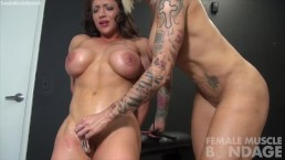 BrandiMae and Dani Andrews Muscle Lesbian Bondage