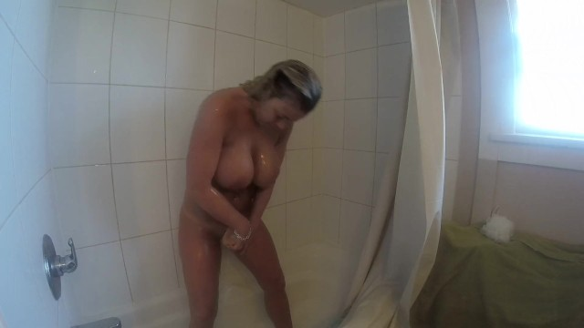 3 way dildo Me rubbing my huge tits masturbating my way to 3 orgasms in the shower