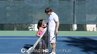 HD FantasyHD - Little Dillion Harper gets fucked on the tennis court fantasyhd raven big-tits billy hart hardcore brunette dillion-harper hd facial