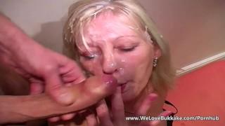 Older mature wife does bukkake porno