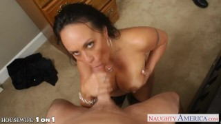 Busty brunette housewife Mariah Milano POV fucking Pussy licking