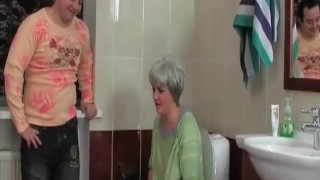Man slut nasty the gets bathroom mature with her in shaved mature