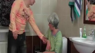 Mature slut gets nasty with her man in the bathroom