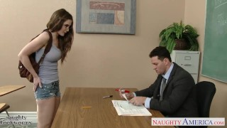 Sexy coed in glasses Molly Jane fuck in classroom Down pussy